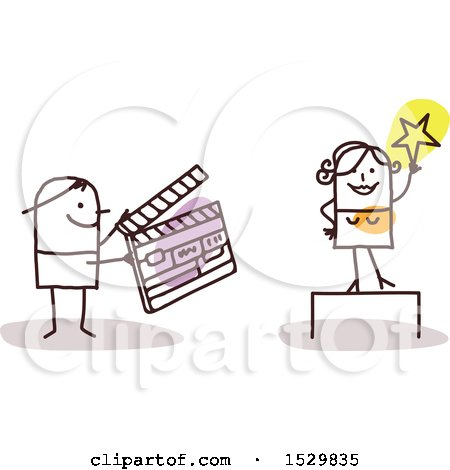 Stick Man Movie Director Holding a Clapper Board by an Actress Posters, Art Prints