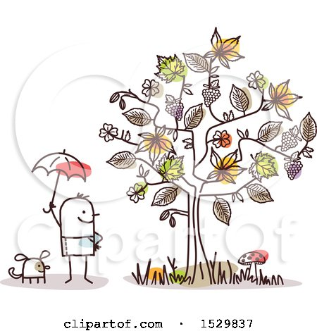 Stick Man and Dog by an Autumn Tree Posters, Art Prints