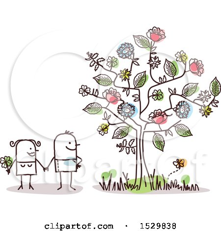 Clipart of a Stick Man Couple by a Flowering Tree - Royalty Free Vector Illustration by NL shop