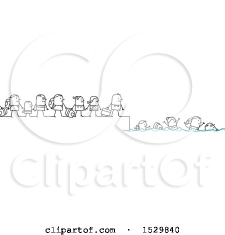 Group of Stick People Refugees Fleeing and Swimming Posters, Art Prints