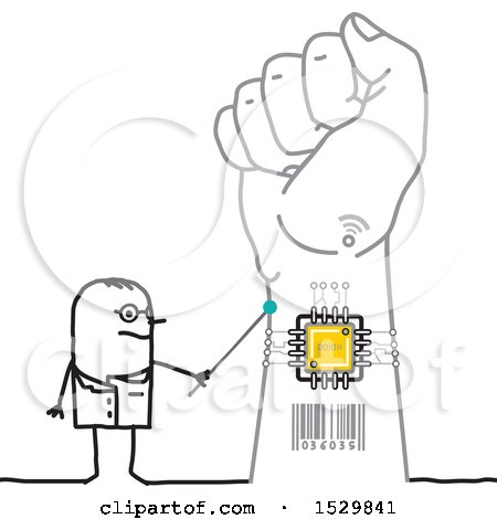 Stick Man Scientist Discussing a Chip in a Hand Posters, Art Prints