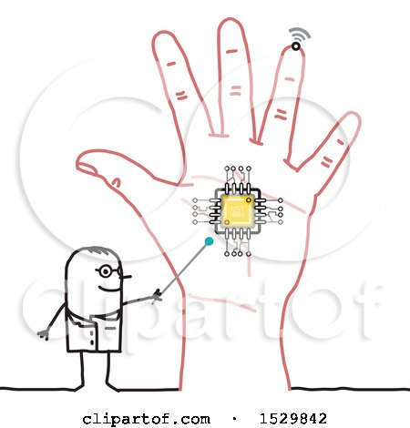 Clipart of a Stick Man Scientist Discussing a Chip in a Hand - Royalty Free Vector Illustration by NL shop