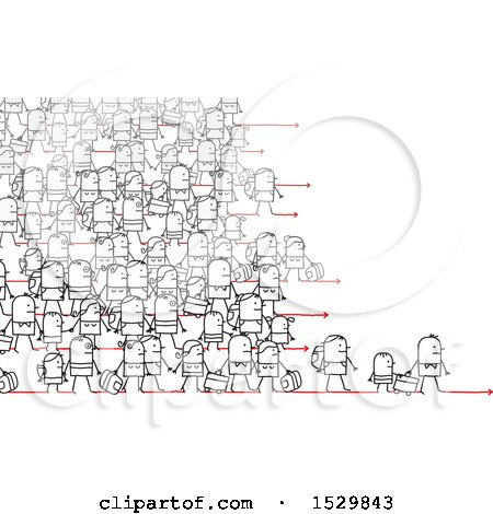 Clipart of a Crowd of Stick People Refugees Migrating - Royalty Free Vector Illustration by NL shop