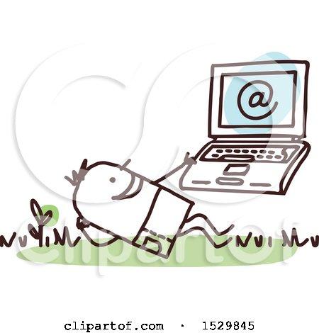 Stick Man Using a Laptop Outdoors Posters, Art Prints