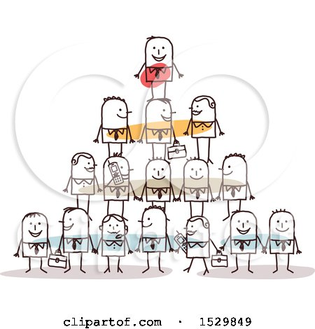 Clipart of a Stick Man Boss on Top of a Pyramid of Employees - Royalty Free Vector Illustration by NL shop