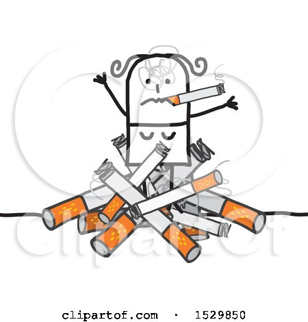 Clipart of a Stick Woman Smoking on a Pile of Cigarettes - Royalty Free Vector Illustration by NL shop