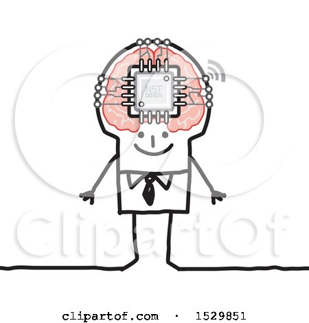 Clipart of a Stick Man with a Computer Chip in His Brain - Royalty Free Vector Illustration by NL shop