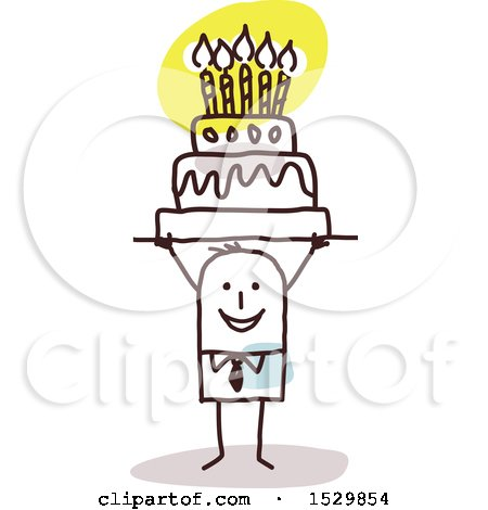 Clipart of a Stick Man Holding up a Birthday Cake Royalty Free