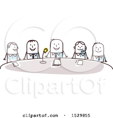 Clipart of a Group of Stick Business Men Around a Conference Table - Royalty Free Vector Illustration by NL shop