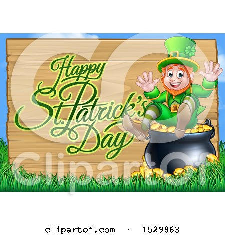 Clipart of a Happy St Patricks Day Greeting on a Wood Sign by a Leprechaun Sitting on a Pot of Gold - Royalty Free Vector Illustration by AtStockIllustration