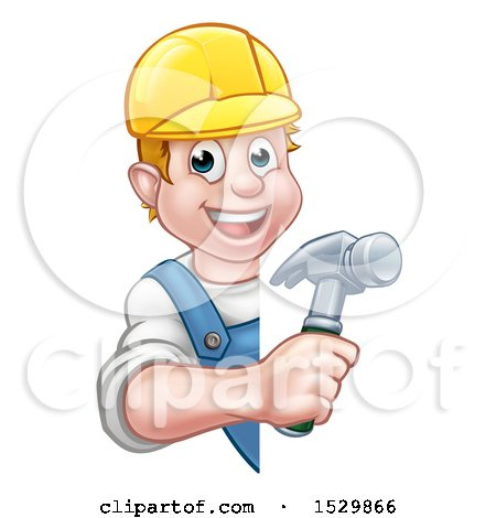 Clipart of a White Male Carpenter Holding a Hammer Around a Sign - Royalty Free Vector Illustration by AtStockIllustration