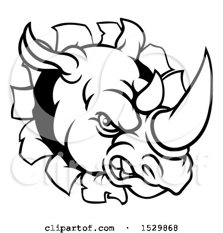 Clipart of a Black and White Tough Rhinoceros Sports Mascot Head Breaking Through a Wall - Royalty Free Vector Illustration by AtStockIllustration