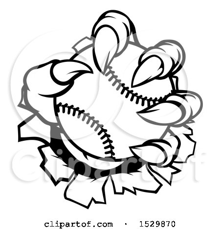 Clipart of a Black and White Monster Claw Holding a Baseball and Ripping Through a Wall - Royalty Free Vector Illustration by AtStockIllustration