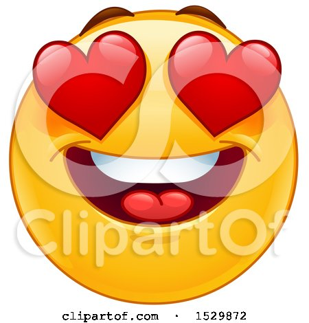 Clipart of a Yellow Emoticon Smiley with Bugging Heart Eyes - Royalty Free Vector Illustration by yayayoyo