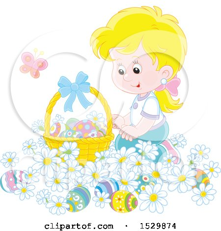 Clipart of a Happy Blond Girl Kneeling in Daisy Flowers by an Easter Basket - Royalty Free Vector Illustration by Alex Bannykh