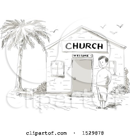 Clipart of a Sketched Cartoon Samoan Boy Standing by a Church - Royalty Free Vector Illustration by patrimonio