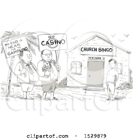 Clipart of a Sketched Cartoon Samoan Preacher and Minister Protesting by a Boy in Front of a Church - Royalty Free Vector Illustration by patrimonio