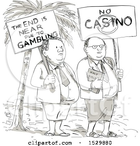 Clipart of a Sketched Cartoon Samoan Preacher and Lay Minister Protesting Against Gambling - Royalty Free Vector Illustration by patrimonio