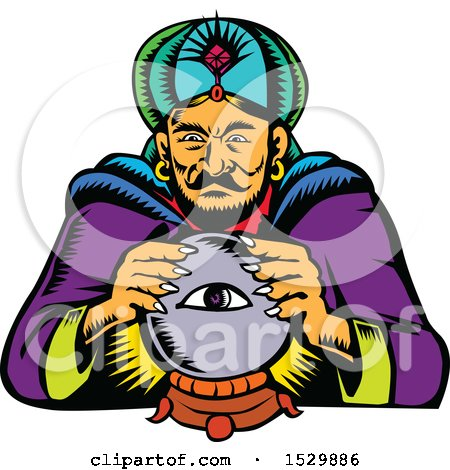 Woodcut Retro Fortune Teller with a Crystal Ball Posters, Art Prints