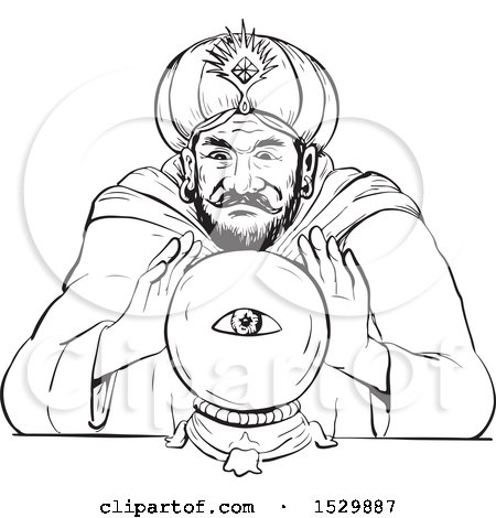 Clipart of a Fortune Teller with a Crystal Ball Black and White Sketch Style - Royalty Free Vector Illustration by patrimonio