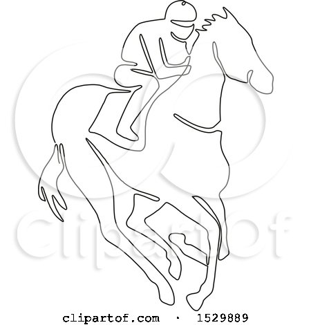 Clipart Of A Jockey Racing A Horse Black And White Continuous Line