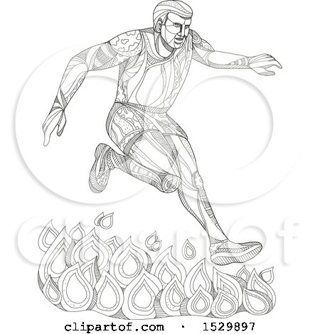 Doodle Styled Man Leaping over Fire in an Obstacle Course Posters, Art Prints