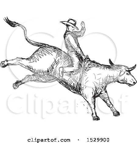 Clipart of a Sketched Rodeo Cowboy on a Bucking Bull - Royalty Free Vector Illustration by patrimonio