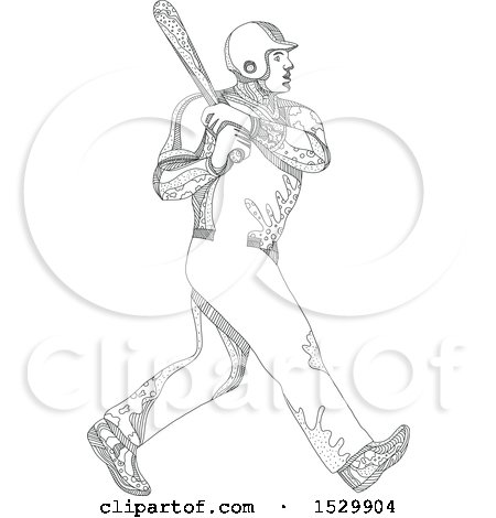 Clipart of a Doodled Baseball Player Batting - Royalty Free Vector Illustration by patrimonio