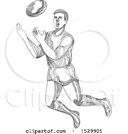 Clipart of a Sketched Aussie Rules Football Player Catching - Royalty Free Vector Illustration by patrimonio