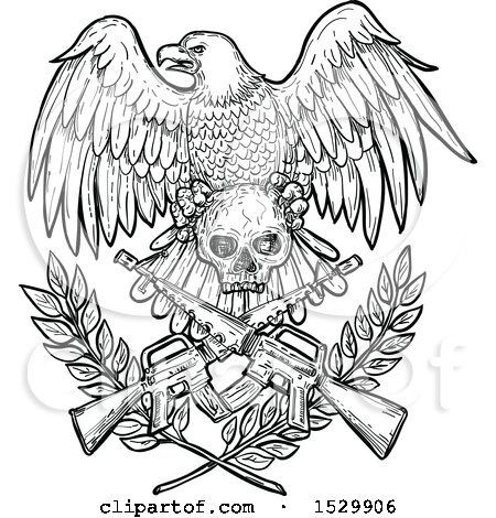 Clipart of a Sketched Black and White Bald Eagle with a Skull over Crossed Rifles and Laurel Branches - Royalty Free Vector Illustration by patrimonio