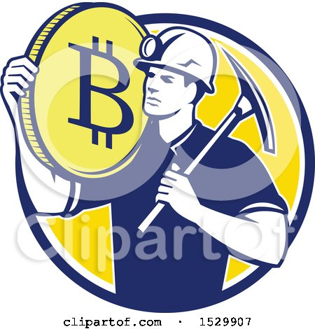 Clipart of a Retro Crytocurrency Miner with a Bitcoin on His Shoulder and a Pickaxe - Royalty Free Vector Illustration by patrimonio