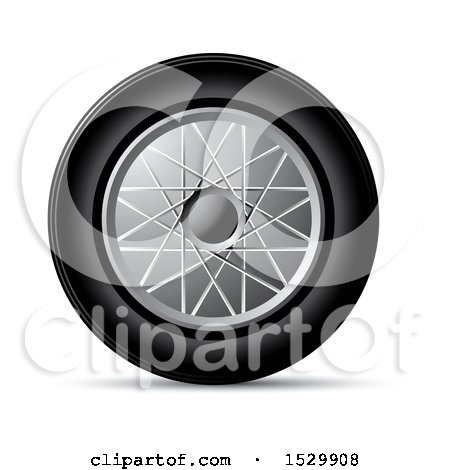 Clipart of a Car Rim and Tire - Royalty Free Vector Illustration by Lal Perera