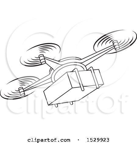 Clipart of a Black and White Delivery Drone Flying with a Package - Royalty Free Vector Illustration by Lal Perera