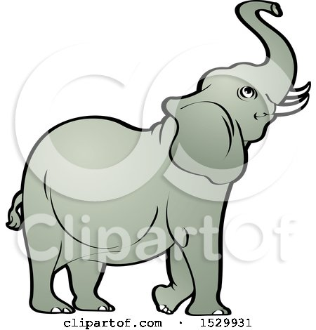 Clipart of a Cute Elephant Raising His Trunk - Royalty Free Vector Illustration by Lal Perera