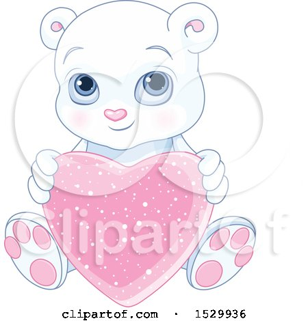 Clipart of a Cute Valentine Polar Bear Cub Holding a Love Heart - Royalty Free Vector Illustration by Pushkin