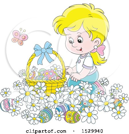 Clipart of a Happy Blond Caucasian Girl Kneeling in Daisy Flowers by an Easter Basket - Royalty Free Vector Illustration by Alex Bannykh