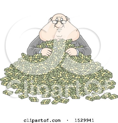 Clipart of a Fat Caucasian Business Man in a Pile of Cash Money - Royalty Free Vector Illustration by Alex Bannykh