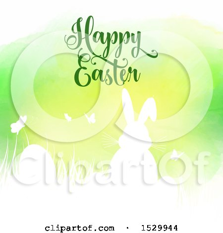 Clipart of a Happy Easter Greeting with a Silhouetted Bunny Rabbit and Eggs Against Green Watercolor - Royalty Free Vector Illustration by KJ Pargeter
