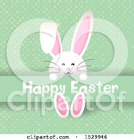 Clipart of a Happy Easter Greeting with a Bunny Rabbit on Green Dots - Royalty Free Vector Illustration by KJ Pargeter