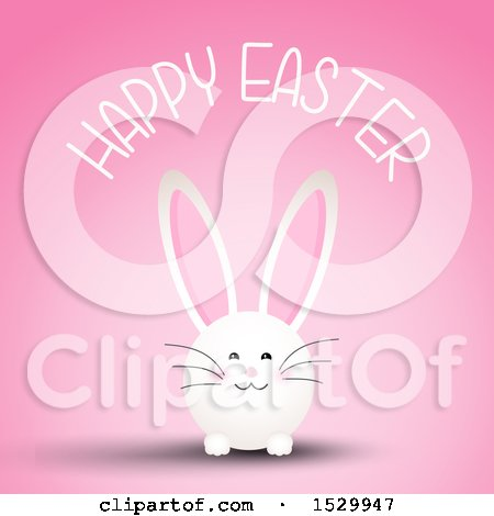 Clipart of a Happy Easter Greeting with a Bunny Rabbit on Pink - Royalty Free Vector Illustration by KJ Pargeter