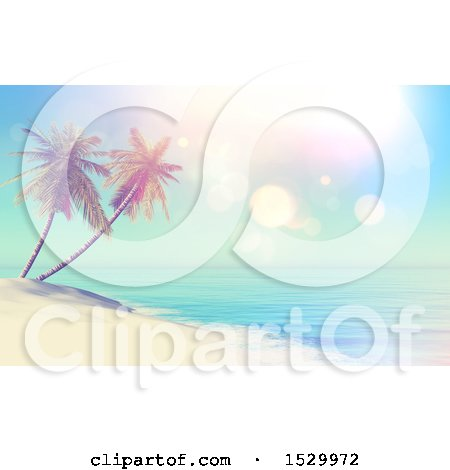 Clipart of a 3d Tropical Island Beach with Double Palm Trees - Royalty Free Illustration by KJ Pargeter