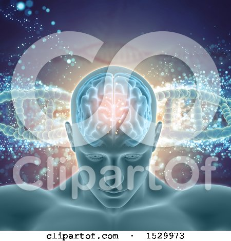 Clipart of a 3d Man with Visible Brain over a Background of Dna Strands - Royalty Free Illustration by KJ Pargeter