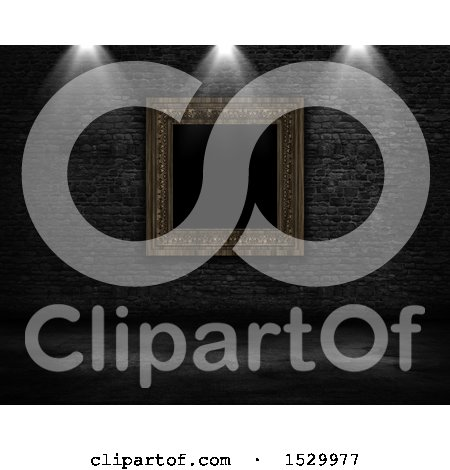 Clipart of a 3d Blank Picture Frame on a Brick Wall with Lights - Royalty Free Illustration by KJ Pargeter