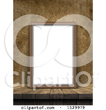 Clipart of a 3d Blank Picture Frame Leaning Against a Wall with Vintage Wallpaper - Royalty Free Illustration by KJ Pargeter