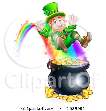 Clipart of a St Patricks Day Leprechaun Riding a Rainbow to the Top of a Pot of Gold - Royalty Free Vector Illustration by AtStockIllustration