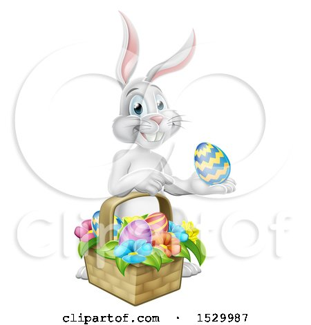 Clipart of a Happy White Easter Bunny Rabbit with a Basket and Eggs - Royalty Free Vector Illustration by AtStockIllustration