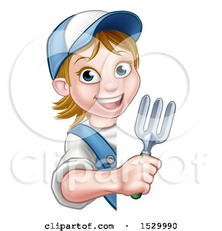 Clipart of a Cartoon Happy White Female Gardener Holding a Garden Fork Around a Sign - Royalty Free Vector Illustration by AtStockIllustration