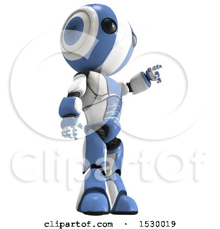 Clipart of a 3d Ao Maru Robot Pointing to the Right - Royalty Free Illustration by Leo Blanchette
