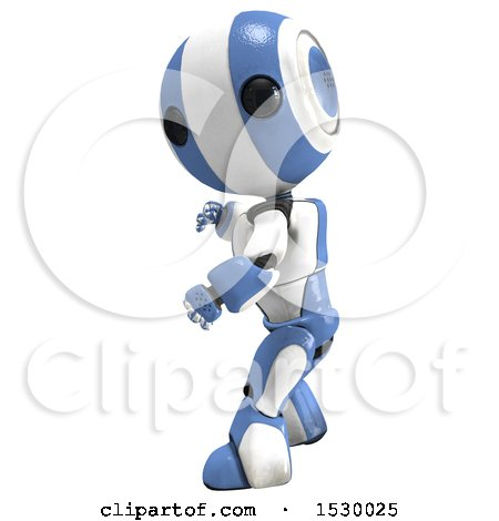 Clipart of a 3d Ao Maru Robot Fighter - Royalty Free Illustration by Leo Blanchette