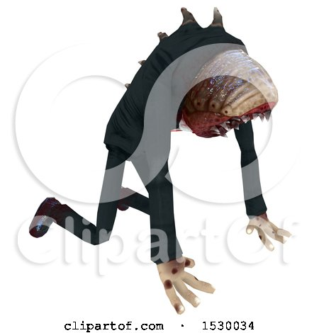 Clipart of a 3d Professional Parasite Throwing up - Royalty Free Illustration by Leo Blanchette